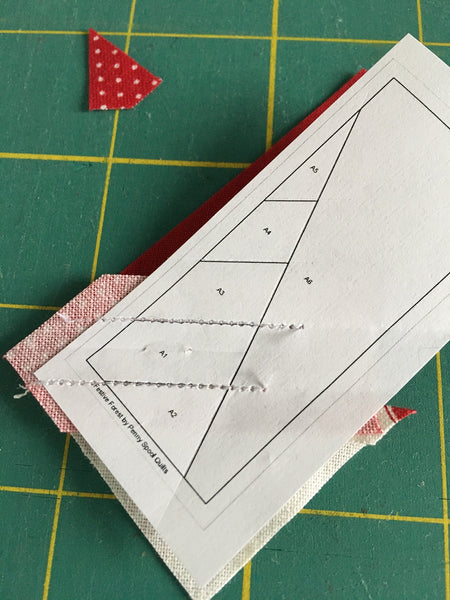 Festive Forest by Penny Spool Quilts - Christmas Tree Ornament Tutorial - foundation paper showing two stitched lines