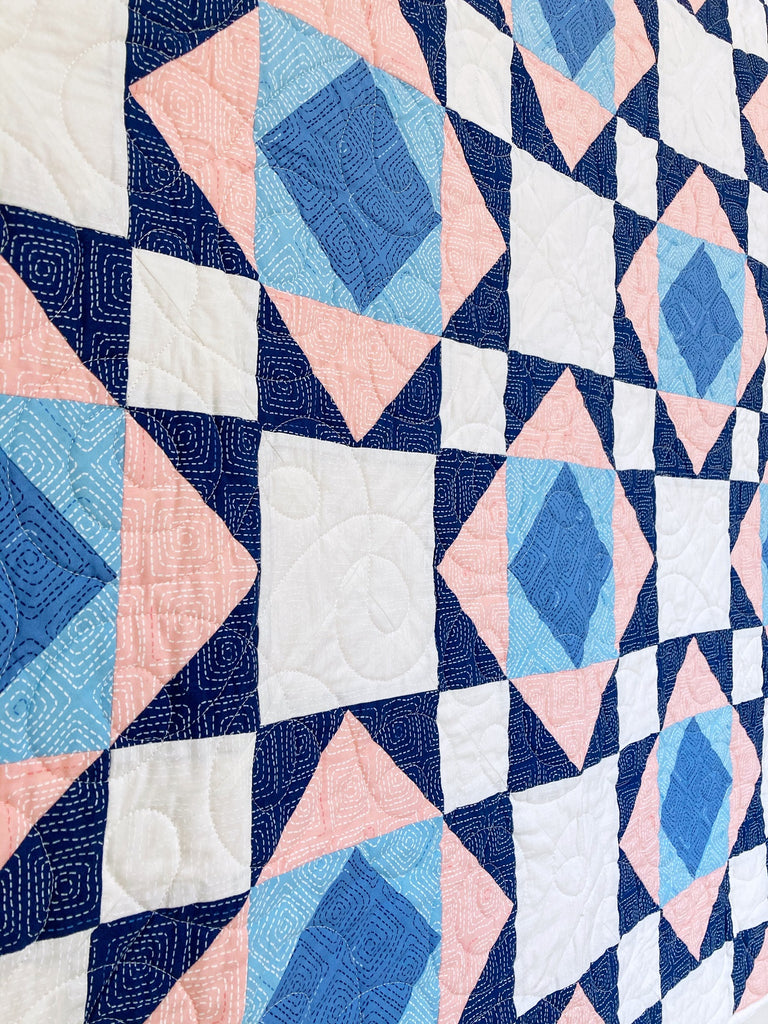 Victorian Tiles Quilt Pattern by Penny Spool Quilt - closeup of the pink and blue sample quilt