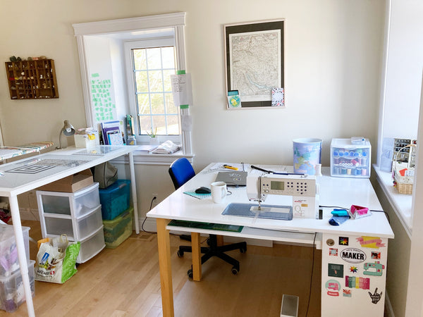 my studio, sewing table and cutting table