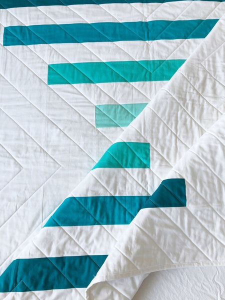 Raise The Bar modern quilt pattern by Penny Spool Quilts - turquoise ombre quilt
