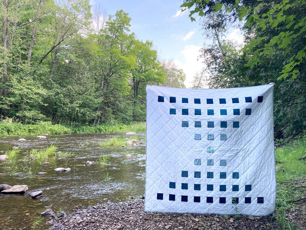 Staccato Quilt Pattern by Monika Henry of Penny Spool Quilts - blue ombre kona solids