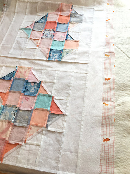 tumbled love table runner by penny spool quilts, scrappy hearts quilted table runner