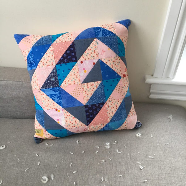 Pink and Blue Swirl Pillow, Ripple & Swirl Modern HST Quilt Pattern by Penny Spool Quilts