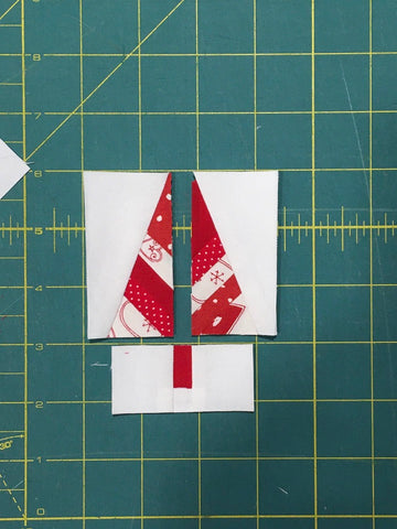 Festive Forest by Penny Spool Quilts - Christmas Tree Ornament Tutorial - showing all three parts of the block ready to assemble