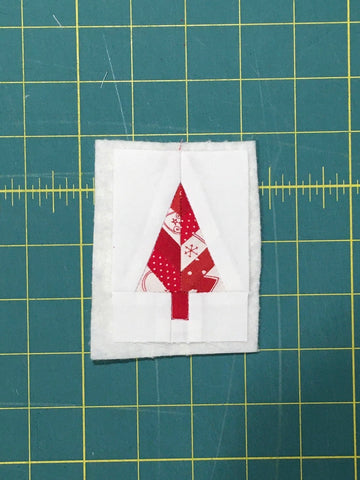 Festive Forest by Penny Spool Quilts - Christmas Tree Ornament Tutorial- finished block quilted to batting, shown from the front