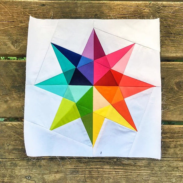 Rainbow Star FPP Quilt Block by Penny Spool Quilts