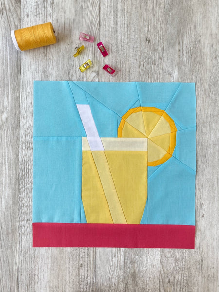 Lemonade FPP quilt block pattern by Penny Spool Quilts -
