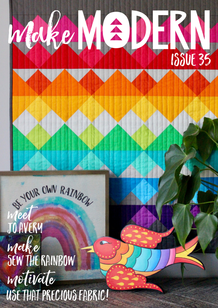 Victorian Tiles Quilt Pattern by Penny Spool Quilts - Make Modern magazine issue 35 cover in which the quilt pattern was featured