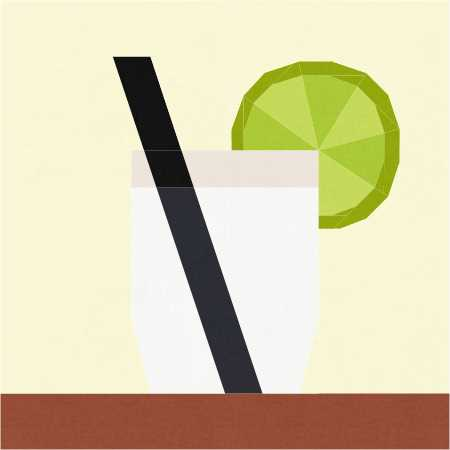 Lemonade FPP Quilt Block pattern by Penny Spool Quilts - gin and tonic with lime slice