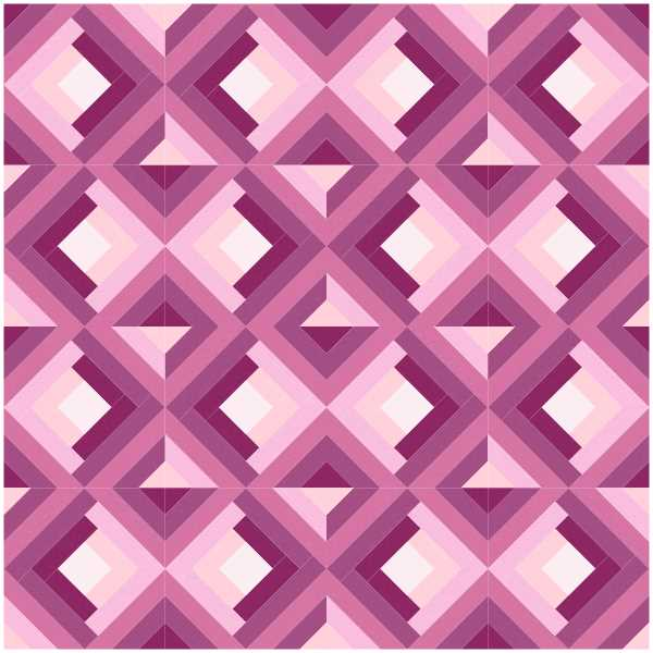 Twisted Log Cabin FPP quilt block by Monika Henry of Penny Spool Quilts - Quilt Block Mania September 2021