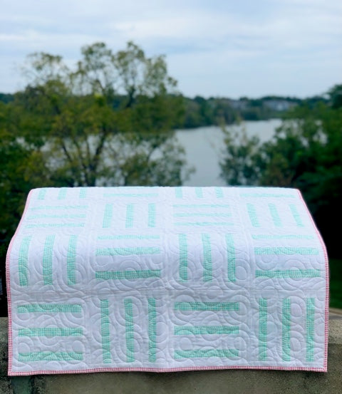 Bar Code quilt pattern by Penny Spool Quilts - tester quilt by Stacey in mint and white