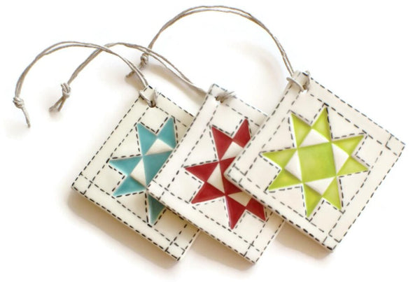 Pottery quilt block ornaments, Quilty Gift Guide by Penny Spool Quilts