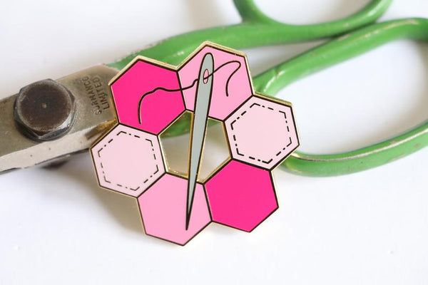 pink hexie enamel pin, Quilty Gift Guide by Penny Spool Quilts