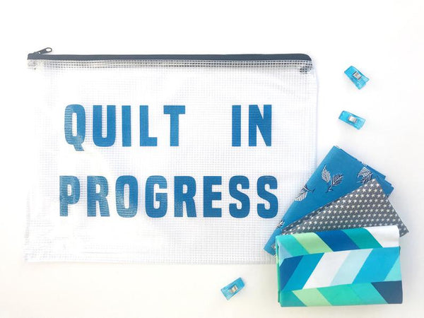 Quilt in Progress vinyl storage bag, Quilty Gift Guide by Penny Spool Quilts