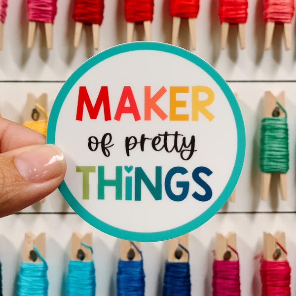 Maker of pretty things sticker, Quilty Gift Guide by Penny Spool Quilts