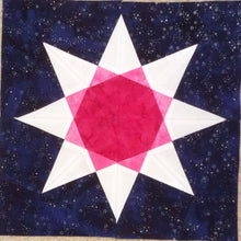 Load image into Gallery viewer, Rainbow Star Quilt Block Pattern by Penny Spool Quilts. Eight pointed star with pink center and white tips, on navy background.