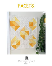 Load image into Gallery viewer, Facets quilt pattern by Penny Spool Quilts. Cover page of pattern showing quilt with yellow large scale gemstones on white background.