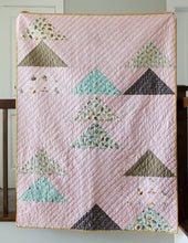 Load image into Gallery viewer, Flocks of Colour and Mini Flocks Pattern Bundle by Penny Spool Quilts. Flocks of Colour throw quilt in pink with aqua and neutral baby print flying geese.