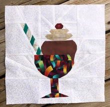 Load image into Gallery viewer, Ice Cream Bowl quilt block pattern by Penny Spool Quilts. Part of the Ice Cream Sunday collection. Sample shows chocolate ice cream topped with whipped cream and a red cherry, and a green and white striped straw, in a multicoloured bowl with stem, on white background.