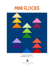 Load image into Gallery viewer, Flocks of Colour and Mini Flocks Quilt Patterns by Penny Spool Quilts. Cover image for Mini Flocks foundation paper pieced block. Digital mockup of quilt block with flying geese in rainbow colours on dark blue background.