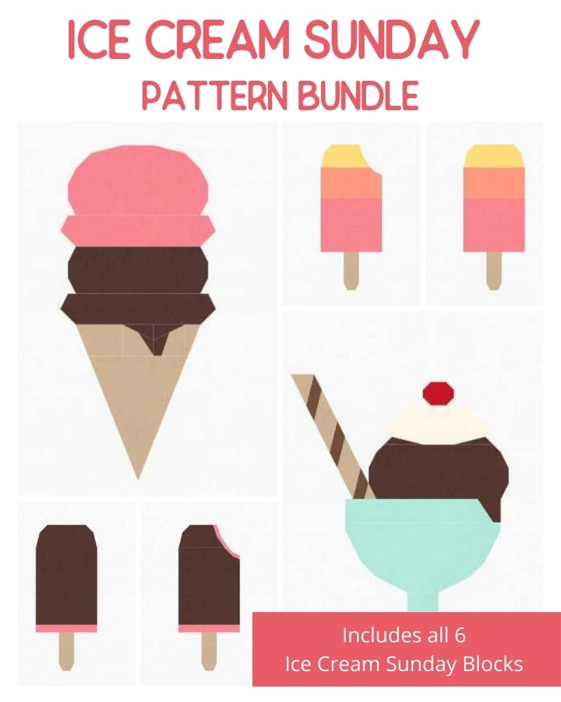 ICE CREAM BUNDLE - All Ice Cream Sunday Quilt Block Patterns - PDF