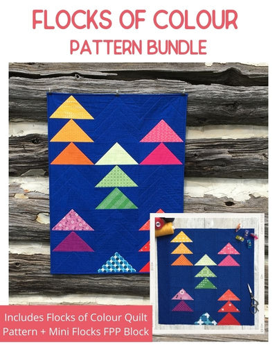 Flock of Colour and Mini Flocks Quilt Patterns by Penny Spool Quilts. Cover image for pattern bundle showing both quilts with flying geese in rainbow colours on dark blue background.