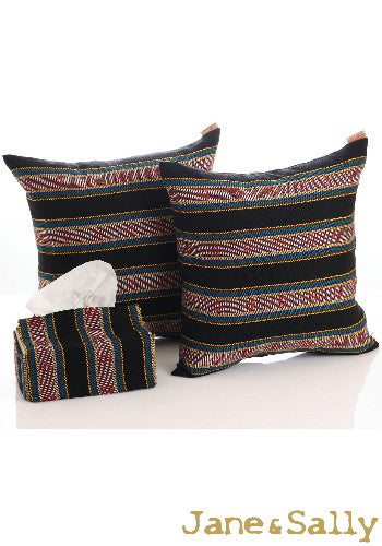 (JaneSally)Knitted Fabric Taiwanese Indigenous Pattern The AMIS Tribe Pattern Pillowcase Cushion Cover(Black)