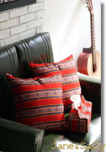 (JaneSally)Knitted Fabric Taiwanese Indigenous Pattern The AMIS Tribe Pattern Pillowcase Cushion Cover(Red)