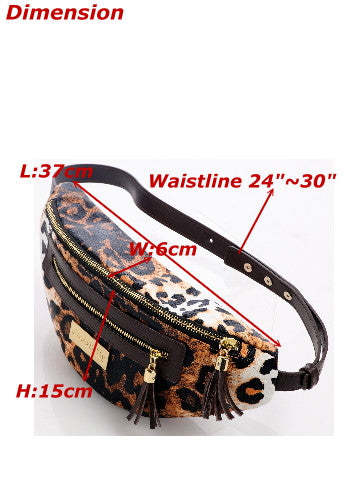 (Jane&Sally)Cool Style Fanny pack(Leopard Brown)