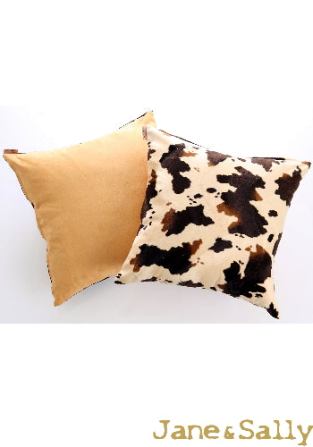 (Jane&Sally)Suede Double-side Pillow Case (Cow Spot)