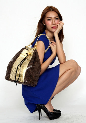 (Jane&Sally)Colorful Patchwork Backpack(Starry Gold)