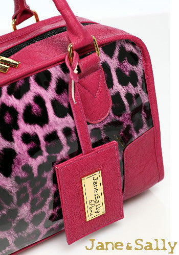 (Jane&Sally)Glossy Leather Joint Boston Bag(Sweet Peach Leopard)