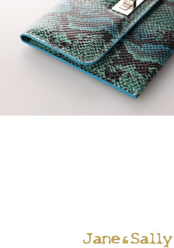 (Jane&Sally)Splendid Animal Print Clutch Bag(Blue Python)