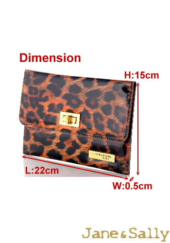 (JaneSally)PU Leather Leopard Print Clutch Bag With Small Mirror Evening Bag Wallet Passport bag Passport holder(Splendid Leopard)
