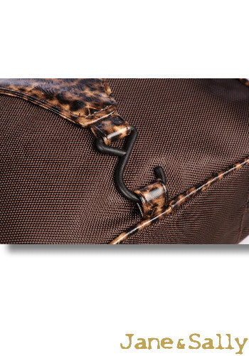(Jane&Sally)Traveller Series Leather Joint Hanging Toiletry Bag(Brown Leopard)
