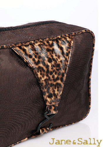 (JaneSally)Patchwork With PU Leather And Nylon Waterproof Toiletry Bag Storage Bag(Brown Leopard)