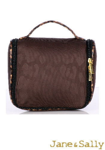 (Jane&Sally)Traveller Series Leather Joint Storage Bag(Brown Leopard)