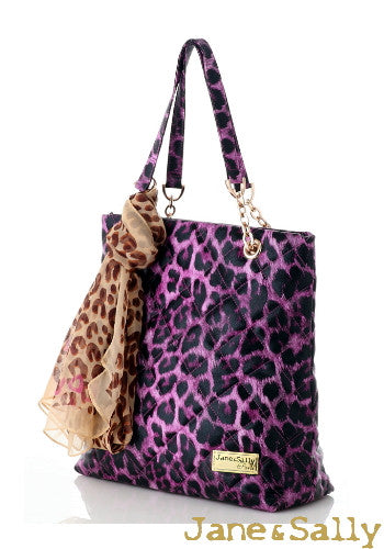 (Jane&Sally)Quilted Tote Bag with Silk Scarf(Sweet Peach Leopard)
