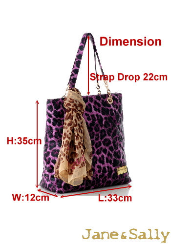 (JaneSally)PU Leather Rhombus Lattice Shoulder Bag Tote Bag Handbag With Chain And Silk Scarf (Sweet Peach Leopard)