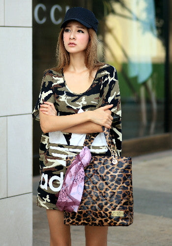 (Jane&Sally)Quilted Tote Bag with Silk Scarf(Splendid Leopard)