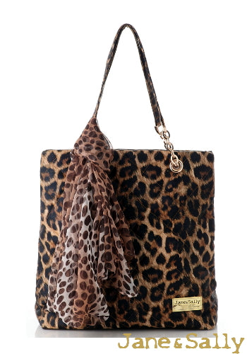 (JaneSally)PU Leather Rhombus Lattice Shoulder Bag Tote Bag Handbag With Chain And Silk Scarf (Splendid Leopard)