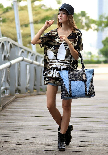 (Jane&Sally)Animal Print Spliced Tote Bag(Profound Grey Leopard)