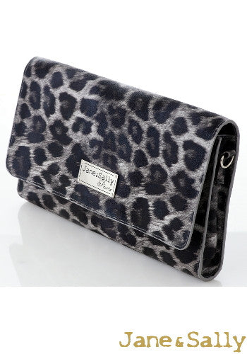 (JaneSally)PU Leather Two-Way Clutch Bag Shoulder Bag With Detachable Strap(Profound Grey Leopard)