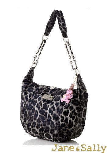 (JaneSally)PU Leather Shoulder Bag With Chain Strap Cross Body Bag With Bear Shape Key Chain Hobo bag(Profound Grey Leopard)