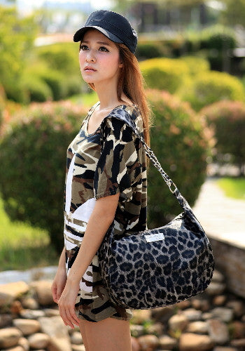 (Jane&Sally)Animal Print Strap Chain Bag(Profound Grey Leopard)