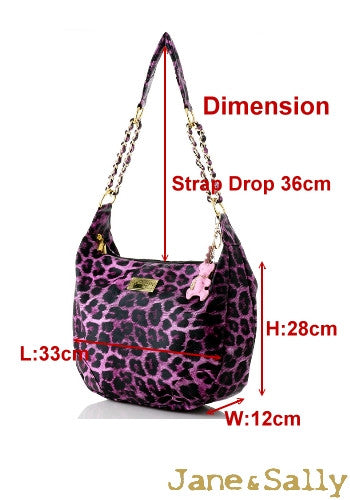 (Jane&Sally)Animal Print Strap Chain Bag(Sweet Peach Leopard)