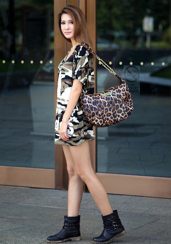 (Jane&Sally)Animal Print Strap Chain Bag(Splendid Leopard)