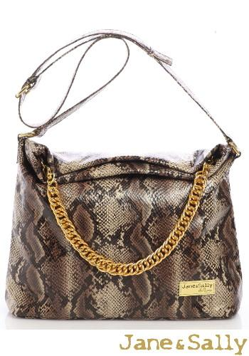 (JaneSally)PU Leather Snakeskin Pattern Bohemia Style Hobo Bag Shoulder Bag Handbag With Two-Way Strap(Classical Brown)
