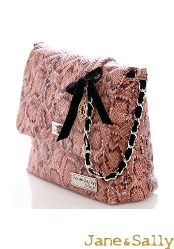(JaneSally)PU Leather Rhombus Lattice Snakeskin Pattern Shoulder Bag With Diamond Chain Strap Cross Body Bag(Small)