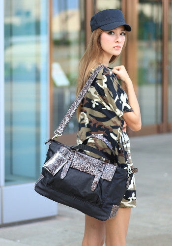 (Jane&Sally)Traveller Series Leather Joint Travel Bag(Black Leopard)
